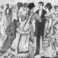 Antique Engraving of Full-Dress Party Victorian Engraving, 1879