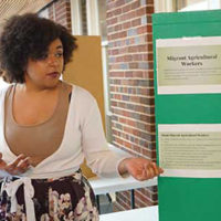 """Nurse-Midwifery student Olivia Wreford earned first place honors in the Diversity poster presentation with her topic, """"Health Concerns in Migrant Farm Workers."""""""