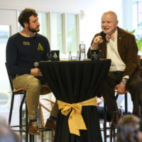 Cal Turner Jr. (right) speaks to students, faculty and staff at the Owen Graduate School of Management during a Turner Family Center Values Summit held on Feb. 9, 2019. (Vanderbilt University)