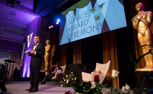 Vice Chancellor for Information Technology John Lutz served as master of ceremonies for the 2018 Service Award celebration. (Susan Urmy/Vanderbilt)