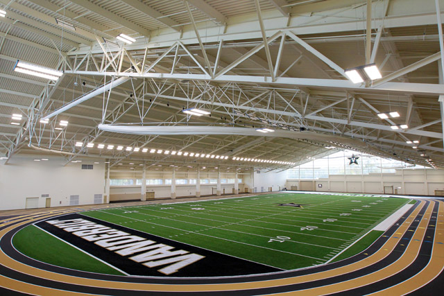 Vanderbilt's Field House has state-of-the art indoor practice field and track
