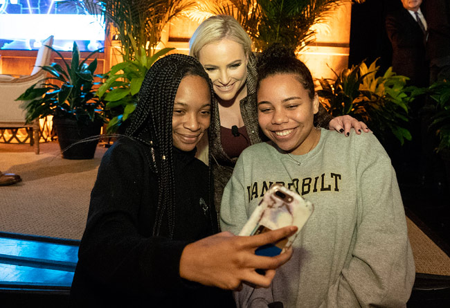 "Meghan McCain (center) poses for a ""selfie"" with Vanderbilt students following her Chancellor's Lecture Series appearance Feb. 19. (Joe Howell/Vanderbilt)"