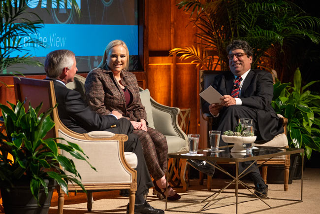 "L-r: Distinguished Visiting Professor Jon Meacham, ""The View"" co-host and political analyst Meghan McCain and Chancellor Nicholas S. Zeppos in conversation at the Chancellor's Lecture Series event Feb. 19 in Langford Auditorium. (Joe Howell/Vanderbilt)"