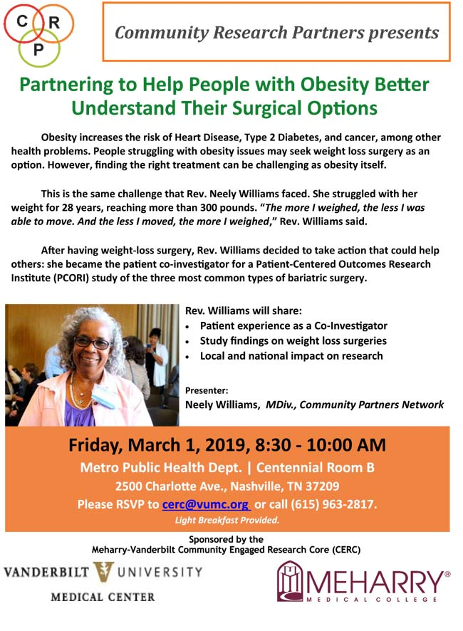 "The Meharry-Vanderbilt Community Engaged Research Core will sponsor ""Partnering to Help People with Obesity Better Understand Their Surgical Options"" on Friday, March 1. (poster)"