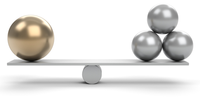 large gold sphere balanced by three small silver spheres on seesaw