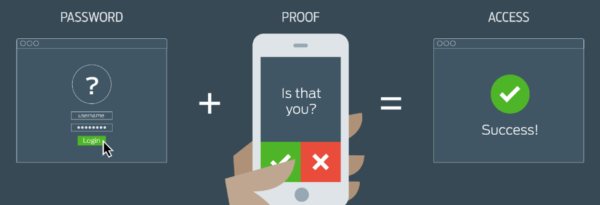 Photo showing smart phone user activating multi-factor authorization