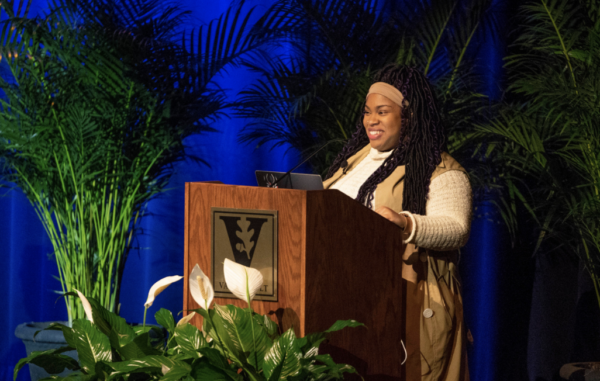 Author Angie Thomas gives lecture to Vanderbilt community on Feb. 13 (Joe Howell/Vanderbilt)