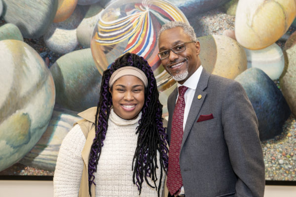Author Angie Thomas and Vice Chancellor for Equity, Diversity and Inclusion and Chief Diversity Officer James E. Page Jr. at the event. Equity, Diversity and Inclusion hosted the lecture with Thomas. (Joe Howell/Vanderbilt)