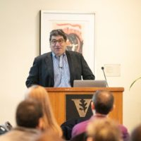 Chancellor Nicholas S. Zeppos stands at podium while addressing University Staff Advisory Council
