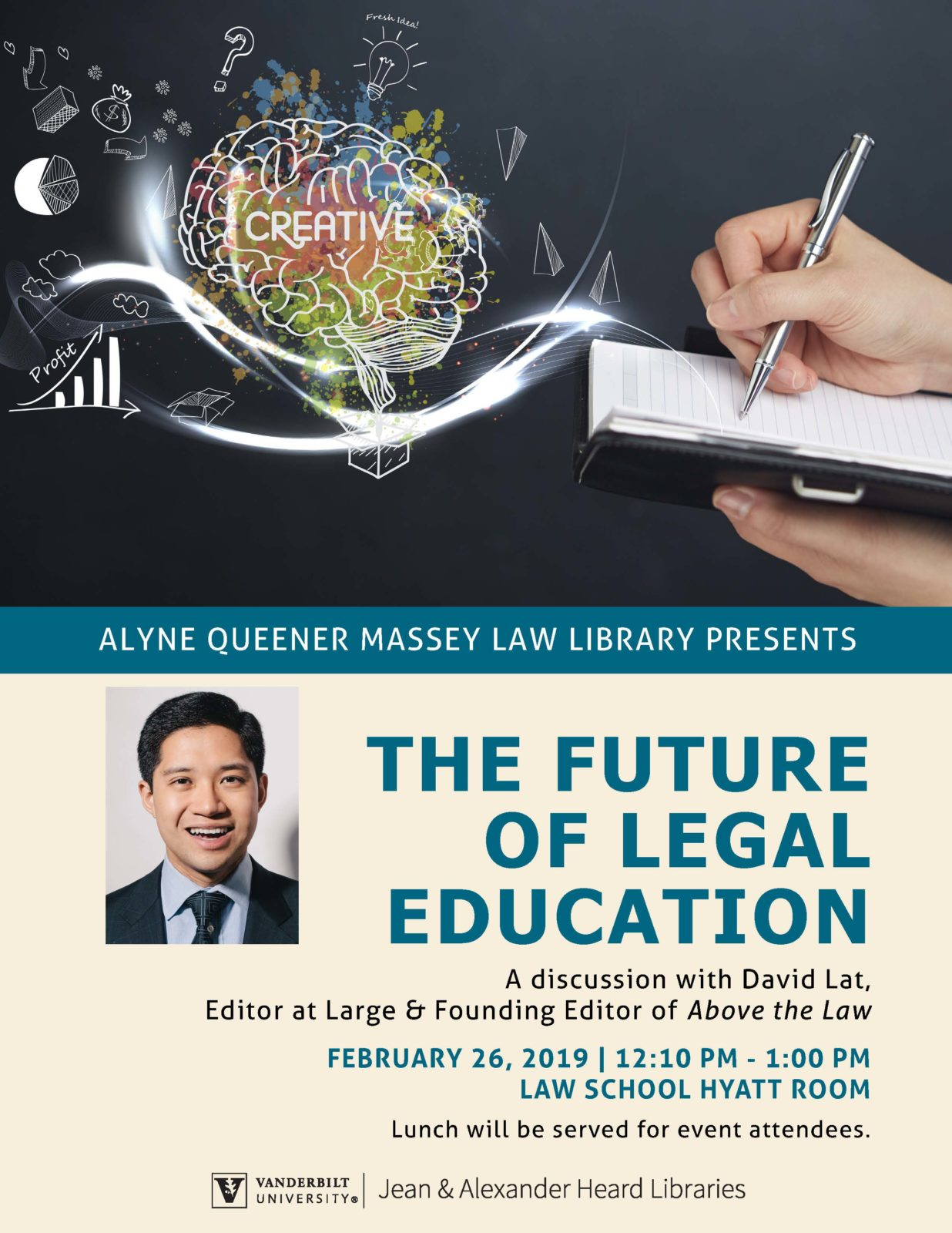 Flier for The Future of Legal Education lecture