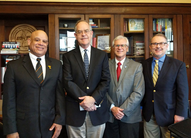 L-r: Interim Dean Mark Dean (UT-Knoxville), Rep. Jim Cooper (D-TN05), Dean Richard Sweigard (University of Memphis) and Dean Philippe Fauchet (Vanderbilt).