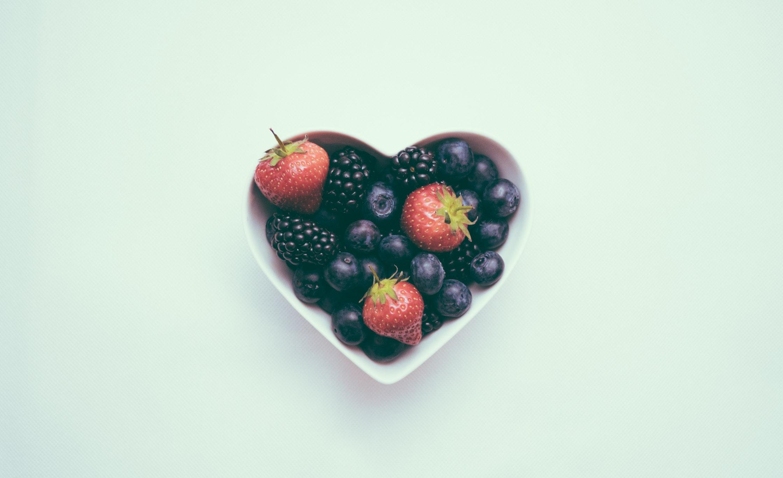Heart shaped bowl of fruit