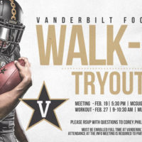 Vanderbilt Football walk-on tryouts for spring 2019 poster