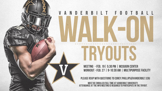 Vanderbilt Football walk-on tryouts for spring 2019 poster