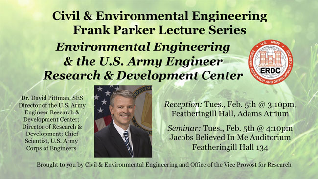 U.S. Army Engineer Research and Development Center chief scientist to give Parker Lecture Feb. 5