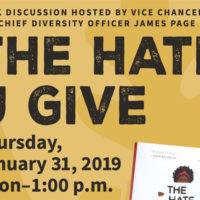 """The Hate U Give"" book discussion poster"
