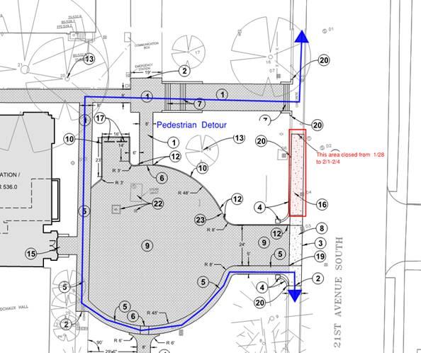 Map of sidewalk closure at the School of Nursing