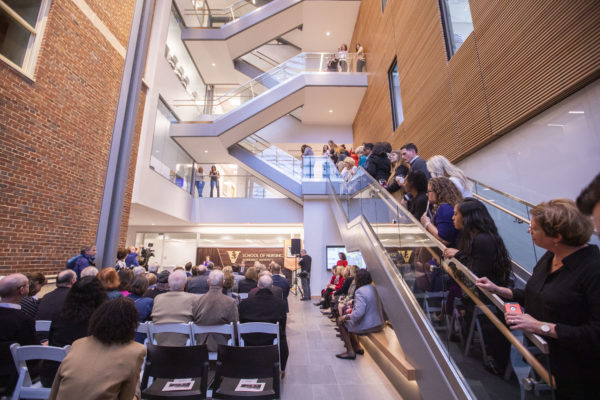 Attendees at the grand opening of the School of Nursing building expansion. (Anne Rayner/Vanderbilt)