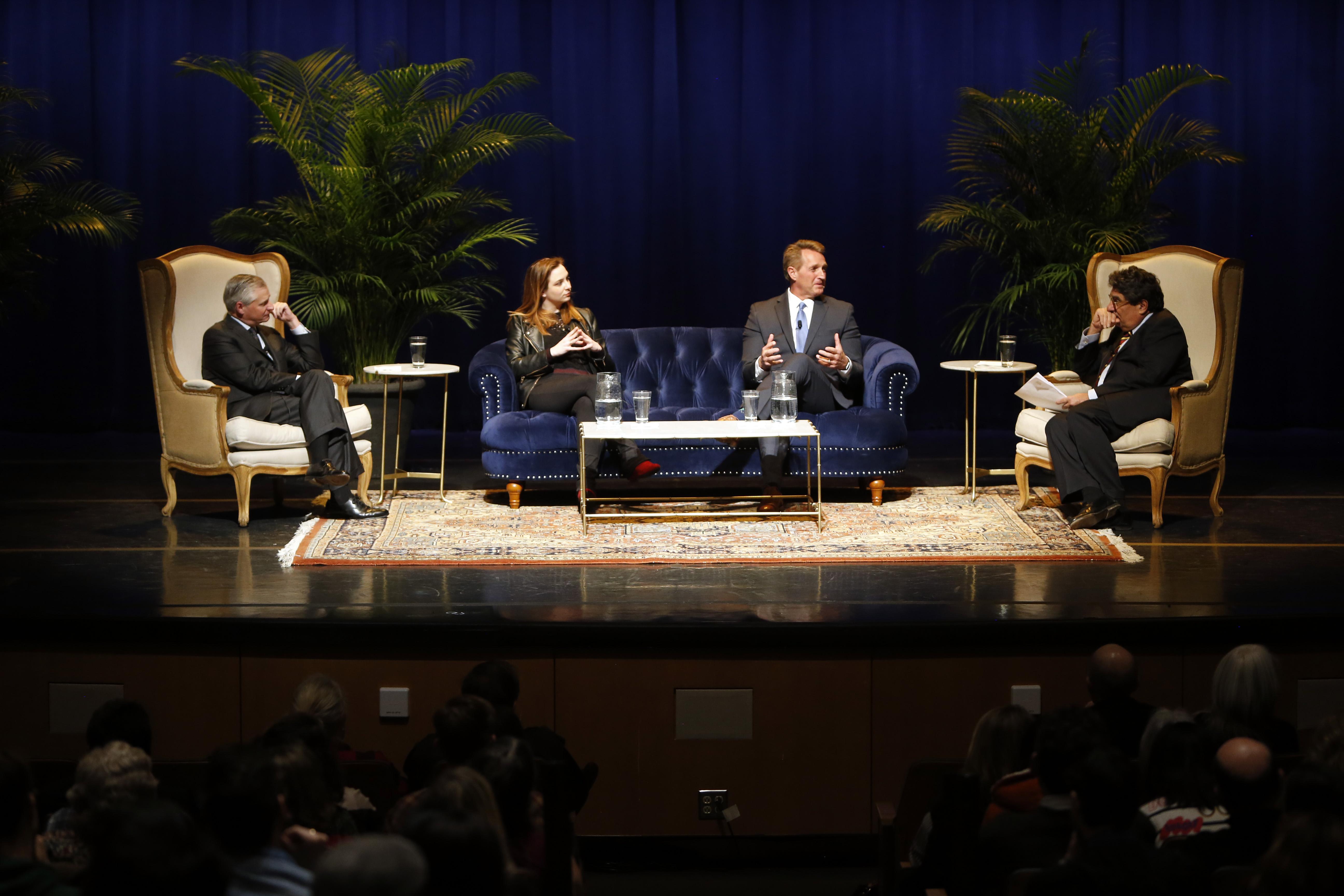 L-r: Jon Meacham, Zoe Chace, Sen. Jeff Flake and Chancellor Nicholas S. Zeppos(Vanderbilt University / Steve Green)