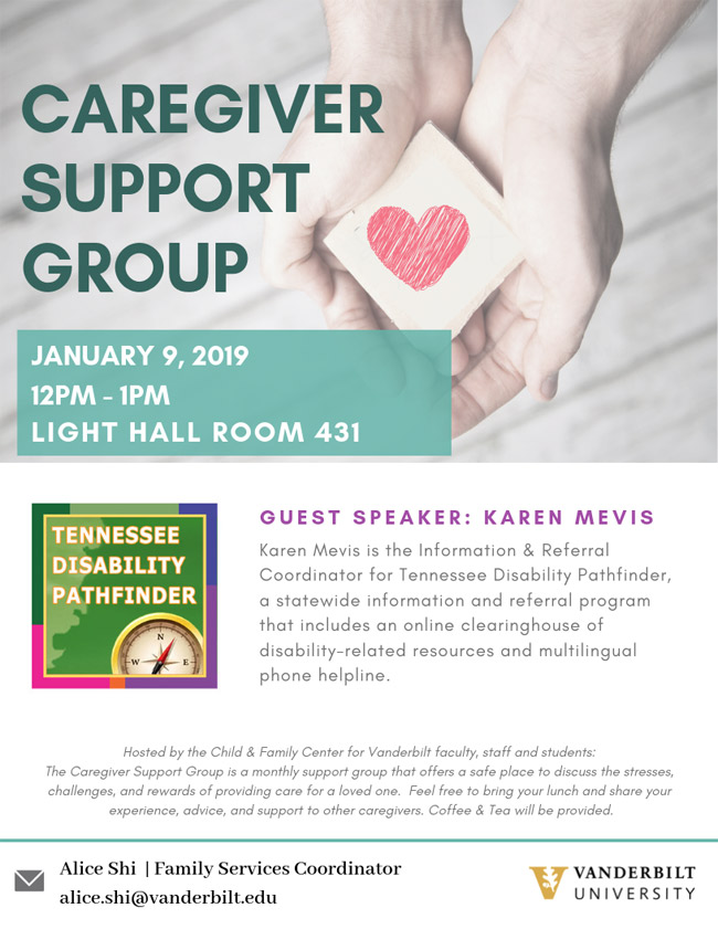 Poster for Caregiver Support Group meeting on Jan. 9, 2019.