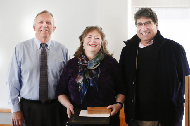 Maureen Casey, Chancellor's Heart and Soul award recipient, with Professor Richard Caprioli and Chancellor Nicholas S. Zeppos