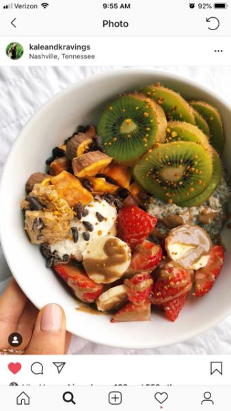 "One of Chmara's ""rainbow bowls"" shown on her Instagram feed @KaleandKravings."