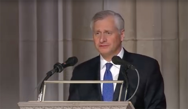 Distinguished Visiting Professor Jon Meacham delivers a eulogy of President George H.W. Bush at Washington National Cathedral on Dec. 5.