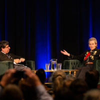 Chancellor Nicholas S. Zeppos and Temple Grandin (Joe Howell/Vanderbilt)
