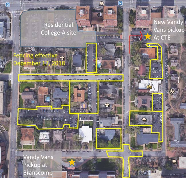 The VandyVans stops in the West End Neighborhood will be located at Branscomb and the lot in front of Carmichael Towers East. (Vanderbilt University)
