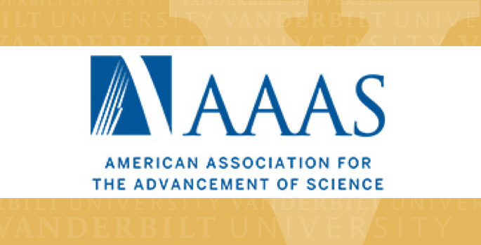 AAAS logo on top of gold MyVU template
