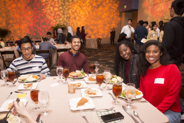 Vanderbilt students enjoy a Thanksgiving dinner in the Student Life Center. (Susan Urmy/Vanderbilt)