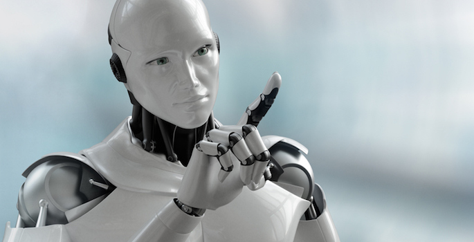 3D visual of a humanoid robot pointing/touching the screen