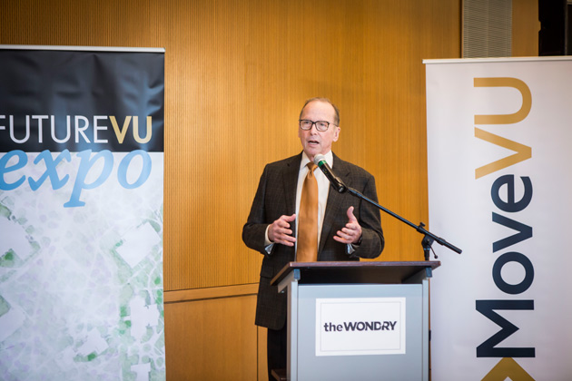 Chancellor Nicholas S. Zeppos and Tennessee Department of Transportation Commissioner John Schroer (pictured) announced a $4.5 million CMAQ grant, which the university will match, at the FutureVU Mobility Expo Nov. 6 at the Wond'ry. (Susan Urmy/Vanderbilt)