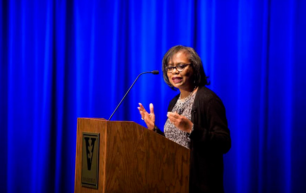 Professor Anita Hill discusses the legal history of sexual harassment during a keynote address at Langford Auditorium Oct. 28. (Susan Urmy/Vanderbilt)