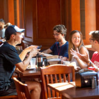Students gather in the dining hall at E. Bronson Ingram College (John Russell/Vanderbilt)