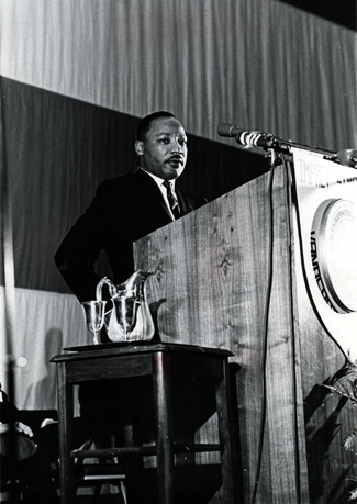 A U.S. flag that was the backdrop for Martin Luther King Jr.'s Impact address will be part of a ceremony to honor veterans Nov. 12. (Vanderbilt University)