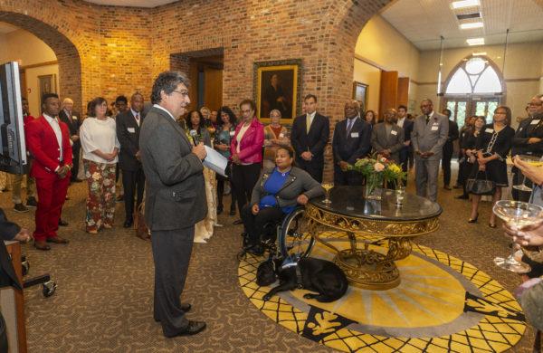 Chancellor Nicholas S. Zeppos speaks at the Vanderbilt Trailblazers portrait unveiling in Kirkland Hall Oct. 13. (Joe Howell/Vanderbilt)
