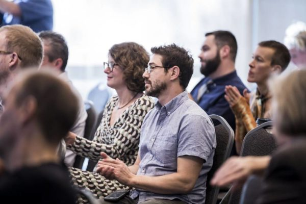 """Approximately 150 faculty, students and staff attended the Chancellor's Town Hall on """"The Role and Impact of the Arts, Theatre and Music"""" at the Student Life Center (Susan Urmy/Vanderbilt University)"""