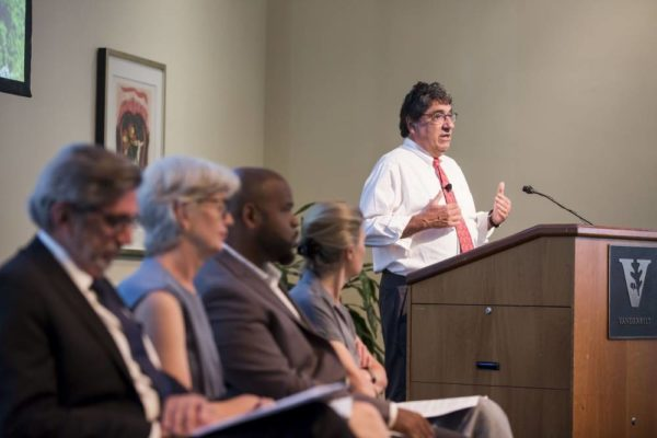 Chancellor Nicholas S. Zeppos delivered introductory remarks at his town hall on the arts with faculty presentations by (l to r) Dean Mark Wait, Leah Lowe, Jonathan Waters and Celia Applegate (Susan Urmy/Vanderbilt University)
