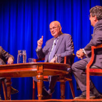 L-r: Vanderbilt Distinguished Visiting Professor Jon Meacham, Gen. Michael Hayden and Chancellor Nicholas S. Zeppos. (Anne Rayner/Vanderbilt)