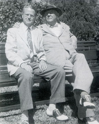 Fred Russell (left) and Grantland Rice in 1951. (courtesy of Jim Harwell/Wikipedia)