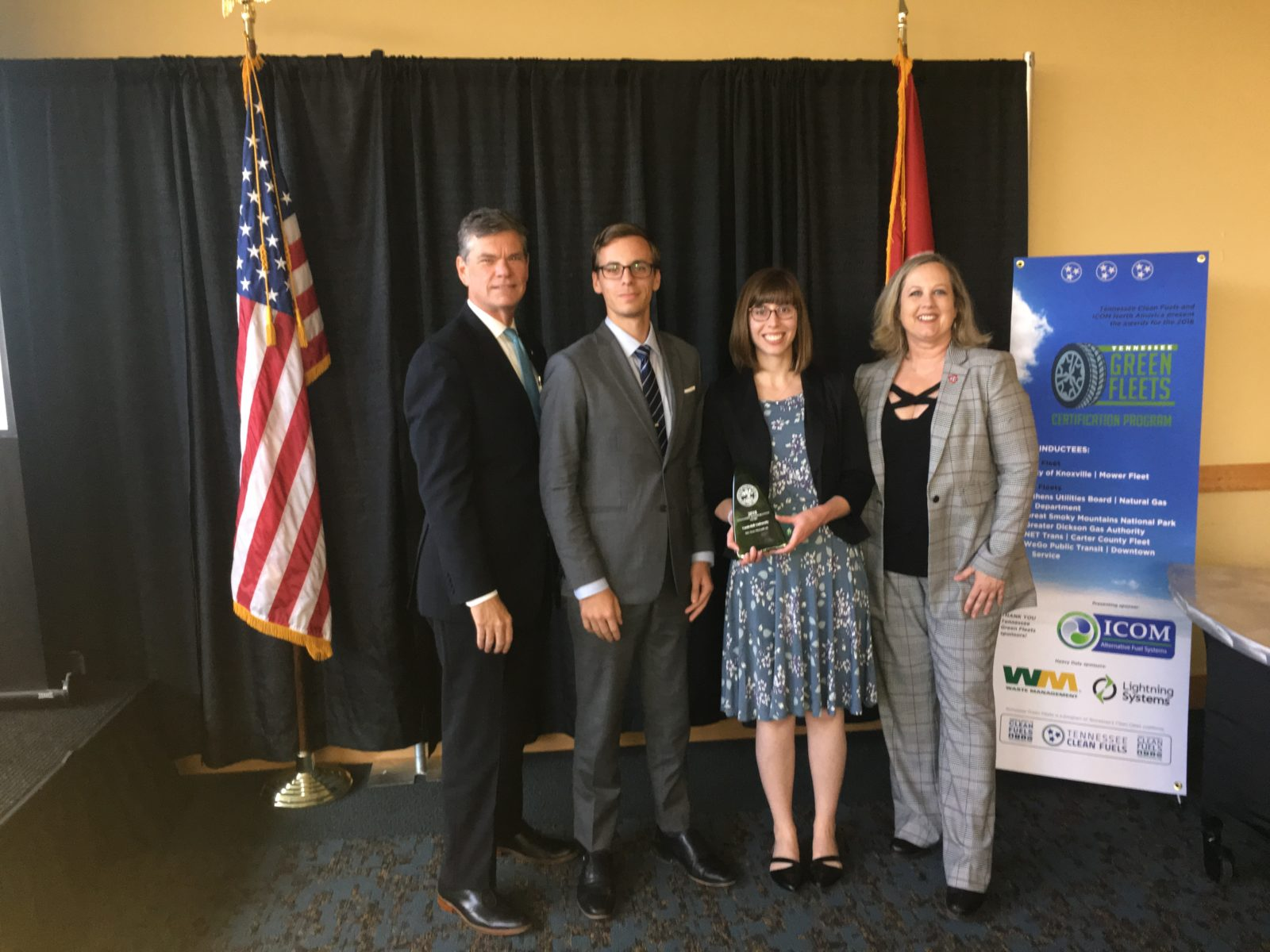 L-r: Daniel E. Pallme, assistant chief of environment and planning for TN Department of Transportation; Will Barbour, Vanderbilt University; Ashley Majewski, Vanderbilt University; Shari Meghreblian, commissioner, TN Department of Environment and Conservation