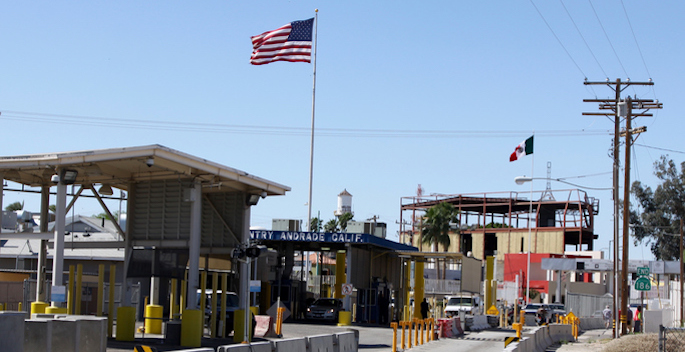 The border crossing buildings between the United States town of Andrade and the Mexican town of Algodones near Yuma Arizona