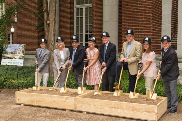 L-r: Mike Schneider, Messer Construction Co.; Provost Susan R. Wente; Chancellor Nicholas S. Zeppos; Dean Camilla Benbow; Trustee, Emeritus, H. Rodes Hart; Keith Loiseau, Vanderbilt University architect; Rachael Spangler, Centric Architecture; and Chris Brown, SGA Architects. (photo by Nathan Morgan/Vanderbilt University)