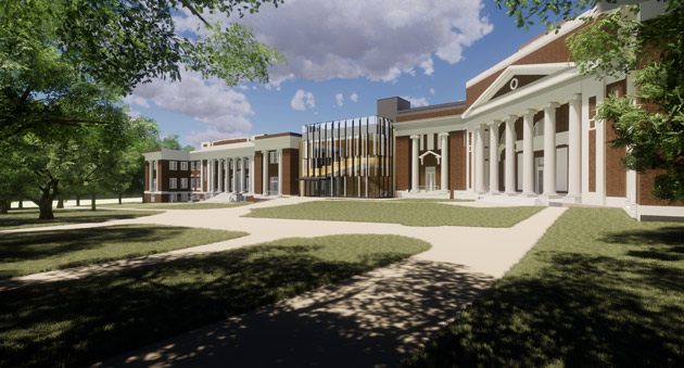 The historic Home Economics Building and Frank W. Mayborn Building will be renovated, and a new 15,000-square-foot building will be constructed to connect them. The project is slated for completion in January 2020. (rendering by SGA/Centric Architects)