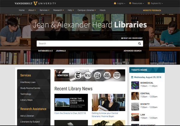 "The Heard Libraries homepage with the ""News Desk"" portal. (Vanderbilt University)"