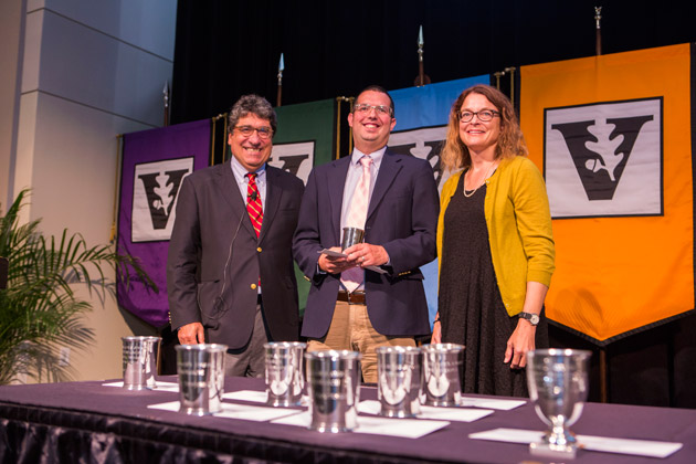 L-r: Chancellor Nicholas S. Zeppos, Chancellor's Award for Research recipient Douglas Shadle, and Faculty Senate Chair Victoria Greene. (Anne Rayner/Vanderbilt)