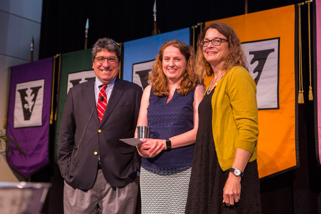 L-r: Chancellor Nicholas S. Zeppos, Chancellor's Award for Research recipient Clare McCabe, and Faculty Senate Chair Victoria Greene. (Anne Rayner/Vanderbilt)