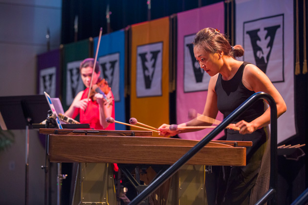 "Professor of Violin Carolyn Huebl and Associate Professor of Percussion Ji Hye Jung performed Astor Piazzolla's ""Histoire du Tango"" at the Fall Faculty Assembly Aug. 23. (Anne Rayner/Vanderbilt)"