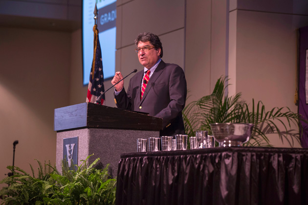Chancellor Nicholas S. Zeppos urged faculty to fight for Vanderbilt's values at the fall assembly Aug. 23 in the Student Life Center. (Anne Rayner/Vanderbilt)